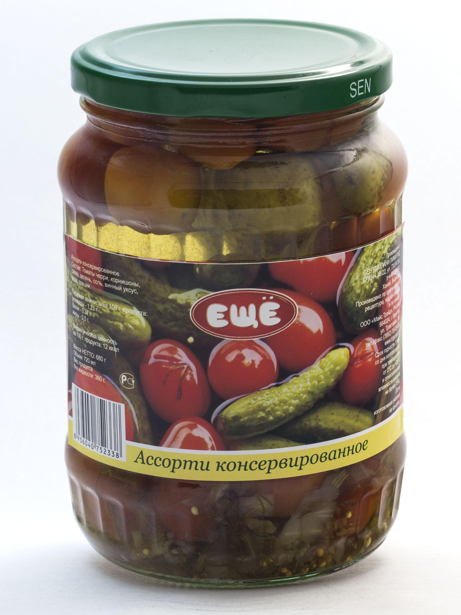 Ассорти (консерв. корнишоны, томаты черри), ст/б, 720 мл.